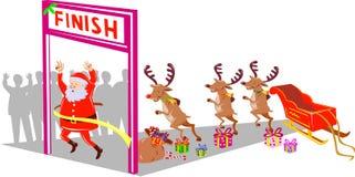 Santa Claus and Rudolph running Stock Image