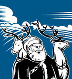 Santa Claus and Rudolph running. Vector illustration of Santa Claus and reindeer with landscape in the background done in woodcut style Royalty Free Stock Images