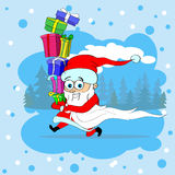 Santa Claus Run Carry Gift Box Merry Christmas Royalty Free Stock Photos