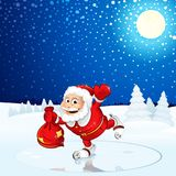Santa Claus run on Winter Landscape Stock Image