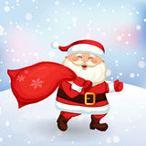 Santa Claus running with a bag of gifts Royalty Free Stock Images