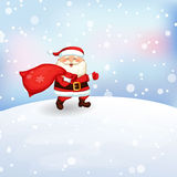 Santa Claus running with a bag of gifts. Stock Photos