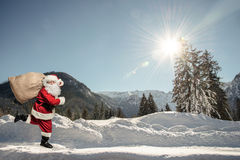 Santa Claus running Royalty Free Stock Photography