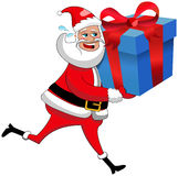 Santa claus running deliver xmas gift box isolated Stock Photo