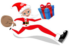 Santa Claus Running Delivering Xmas Gift aisló stock de ilustración