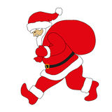 Santa Claus running with the gifts bag Royalty Free Stock Photo