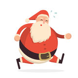 Santa Claus running hard and getting tired.. Cute cartoon cheerful and smiling Father Frost character in a hurry. Flat style vector illustration Stock Image