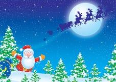 Santa Claus runs after his sledge Royalty Free Stock Image