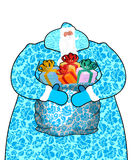 Santa Claus in Russia Natio del gzhel della pittura del costume di Frost del padre Fotografia Stock