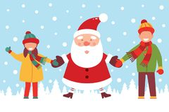 Santa Claus rymmer handen av barn Glad jul och lyckligt nytt år roligt tecknad filmtecken också vektor för coreldrawillustration vektor illustrationer