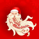 Santa Claus's beard forming Merry Christmas Stock Photo