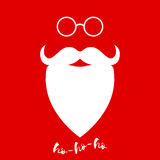 Santa Claus's beard and glasses. Template for Christmas greeting card. Vector background. Royalty Free Stock Photo