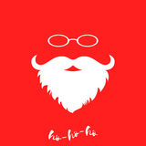 Santa Claus's luxuriant white beard and glasses. Template for Christmas greeting card. Vector background. Royalty Free Stock Image