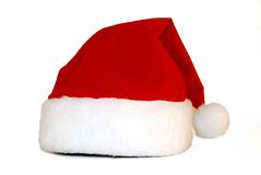 Santa Claus's red cap. Isolated on white stock images