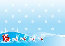 Santa Clauss sledge. Santa Claus goes with gifts on sledge with reindeers. Vector illustration Stock Images