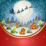 Santa Claus's sleigh. Winter landscape with Santa Claus's sleigh flying on the sky Stock Photo