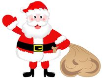 Santa Claus Greeting with Sack. Illustration featuring a fat cute Santa Claus with a sack full of presents greeting isolated on white background. You can find Stock Photography