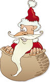 Santa Claus in sack. Illustration of funny Santa Claus in sack, white background Royalty Free Stock Photo