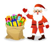 Santa claus and sack with bright gift boxes Stock Images