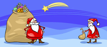 Santa Claus and sack cartoon card Stock Photo