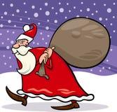 Santa claus with sack cartoon illustration Stock Images