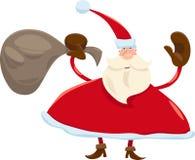 Santa claus with sack cartoon Stock Photos