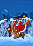 Santa claus with sack climbs over big fence Royalty Free Stock Image