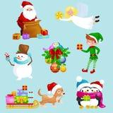 Santa Claus sack full of gifts,angel wings magic wand star, snowman candy, decoration ribbons balls birds Stock Photos