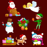Santa Claus sack full of gifts,angel wings magic wand star, snowman candy, decoration ribbons balls birds Stock Photos