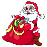 Santa Claus with sack full of gifts 2 Stock Photo