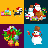 Santa Claus sack full of gifts, snowman candy, decoration ribbons pet dog in hat with present Stock Photo