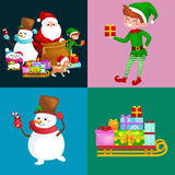 Santa Claus sack full of gifts, snowman candy, decoration ribbons pet dog in hat with presenta in sleigh, penguins elf Stock Photos