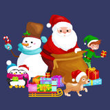 Santa Claus sack full of gifts, snowman candy, decoration ribbons pet dog in hat with presenta in sleigh, penguins elf Stock Image