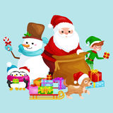 Santa Claus sack full of gifts, snowman candy, decoration ribbons pet dog in hat with presenta in sleigh, penguins elf Royalty Free Stock Image