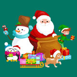 Santa Claus sack full of gifts, snowman candy, decoration ribbons pet dog in hat with presenta in sleigh, penguins elf Royalty Free Stock Photos