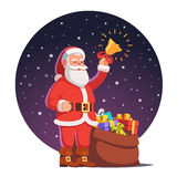 Santa claus with sack full of gifts. Win wrapped boxes standing and ringing his christmas bell. Flat style vector illustration isolated on white background Stock Photo
