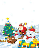 The santa claus with the sack full of presents - gifts - christmas tree - happy reindeer snowman - chr Royalty Free Stock Photos
