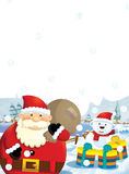 The santa claus with the sack full of presents - gifts - happy polar bear - christmas design Royalty Free Stock Photo