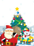 The santa claus with the sack full of presents - gifts - happy polar bear - with christmas tree Stock Images