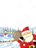 The santa claus with the sack full of presents - gifts - happy polar bear Stock Image