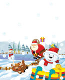 The santa claus with the sack full of presents - gifts - happy reindeer snowman and - christmas design Royalty Free Stock Photos