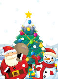The santa claus with the sack full of presents - gifts - happy snowman - with christmas tree - christmas tree Royalty Free Stock Photos