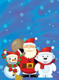 The santa claus with the sack full of presents - gifts - happy snowman and polar bear - christmas desi Royalty Free Stock Photo