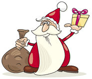 Santa claus with sack and gift Royalty Free Stock Image