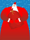 Santa Claus with sack of gifts. Big red festive bag. Great Grand Royalty Free Stock Images