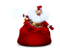 Santa Claus is in a sack and holds in a hand the announcement Royalty Free Stock Photography