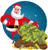 Santa Claus Sack Money. Happy Santa Claus delivery sack full of money Stock Photo