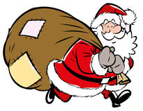 Santa Claus with sack of presents Stock Photo