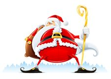Santa Claus with sack and staff Royalty Free Stock Image