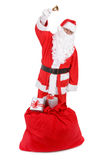 Santa claus with sack on white Royalty Free Stock Photo